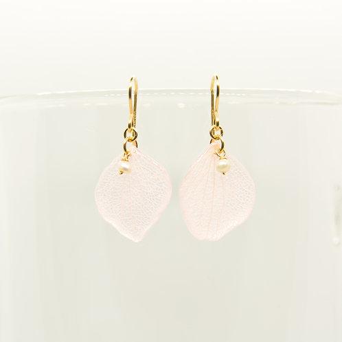 Pink hydrangea petal earrings in 14ct gold filled