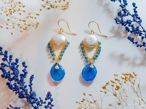 Blue hydrangea petal & gemstone earrings