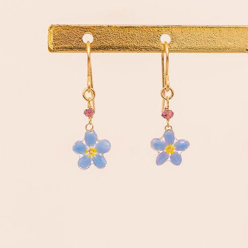 Real forget me not & rhodolite garnet (january birthstone) earrings
