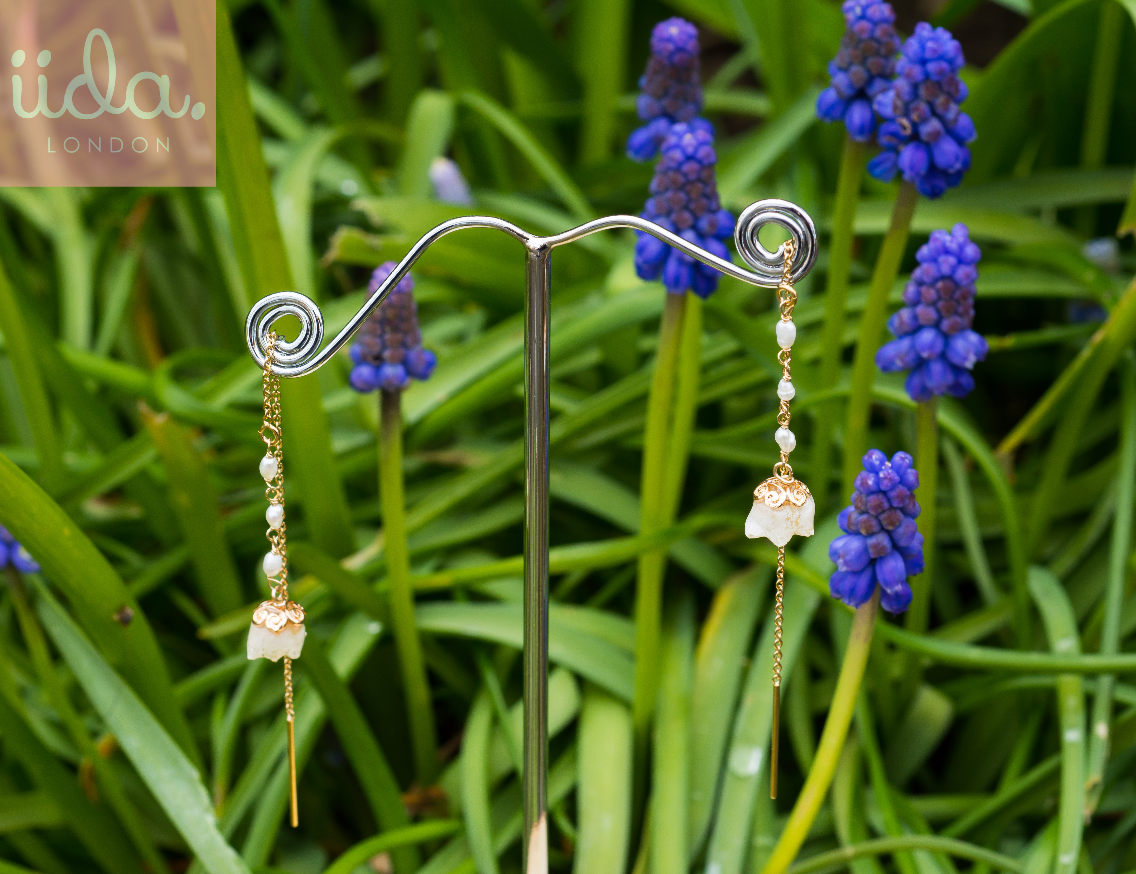 lilly of the valley chain earrings