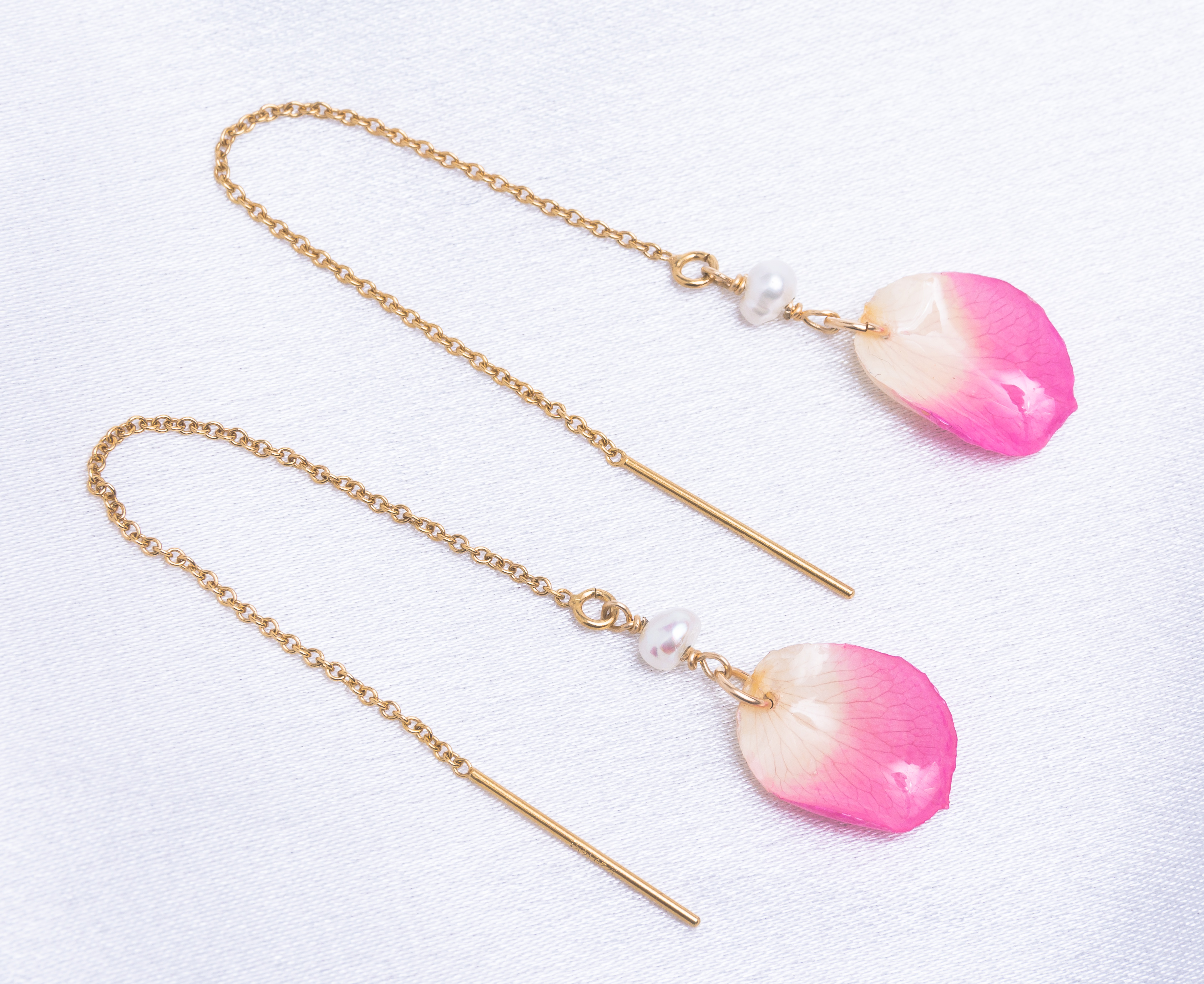 rose petal chain earrings