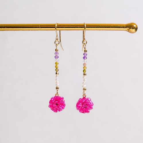 Pink gypsophila & gemstone earrings