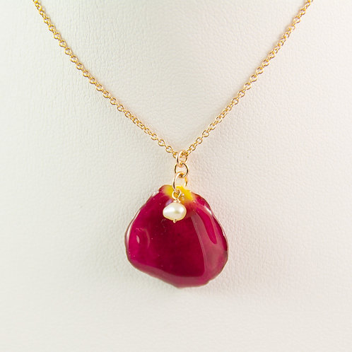 Dark red rose petal in 14ct rose gold filled necklace