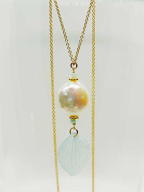 Real hydrangea & freshwater pearls & amazonite in 14ct gold filled