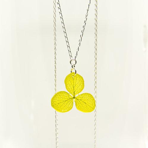 Green hydrangea flower necklace in sterling silver