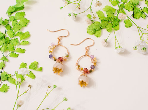 Lilly of the valley & Gemstone in 14ct rose gold filled