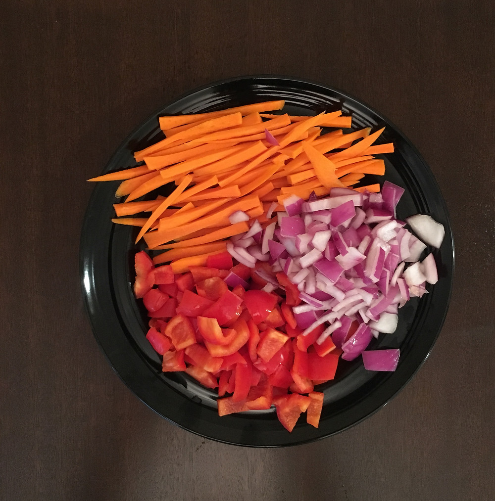 carrots, red onions, & red bell pepper