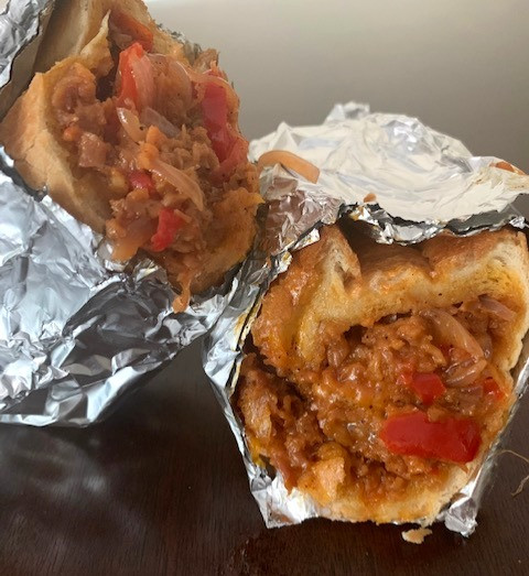 vegan steak and cheese with onion and bell pepper