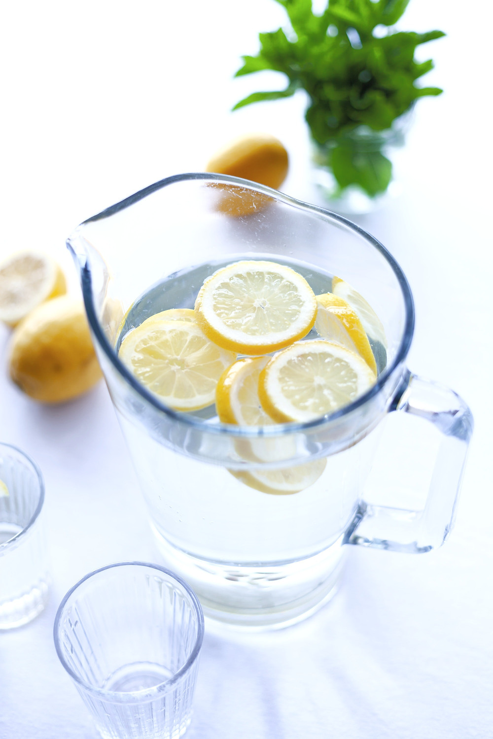 lemon water in jug