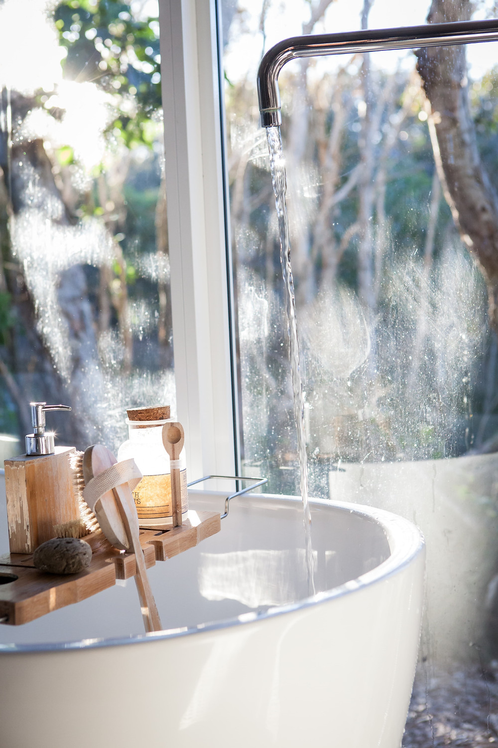 beauty products in bathroom
