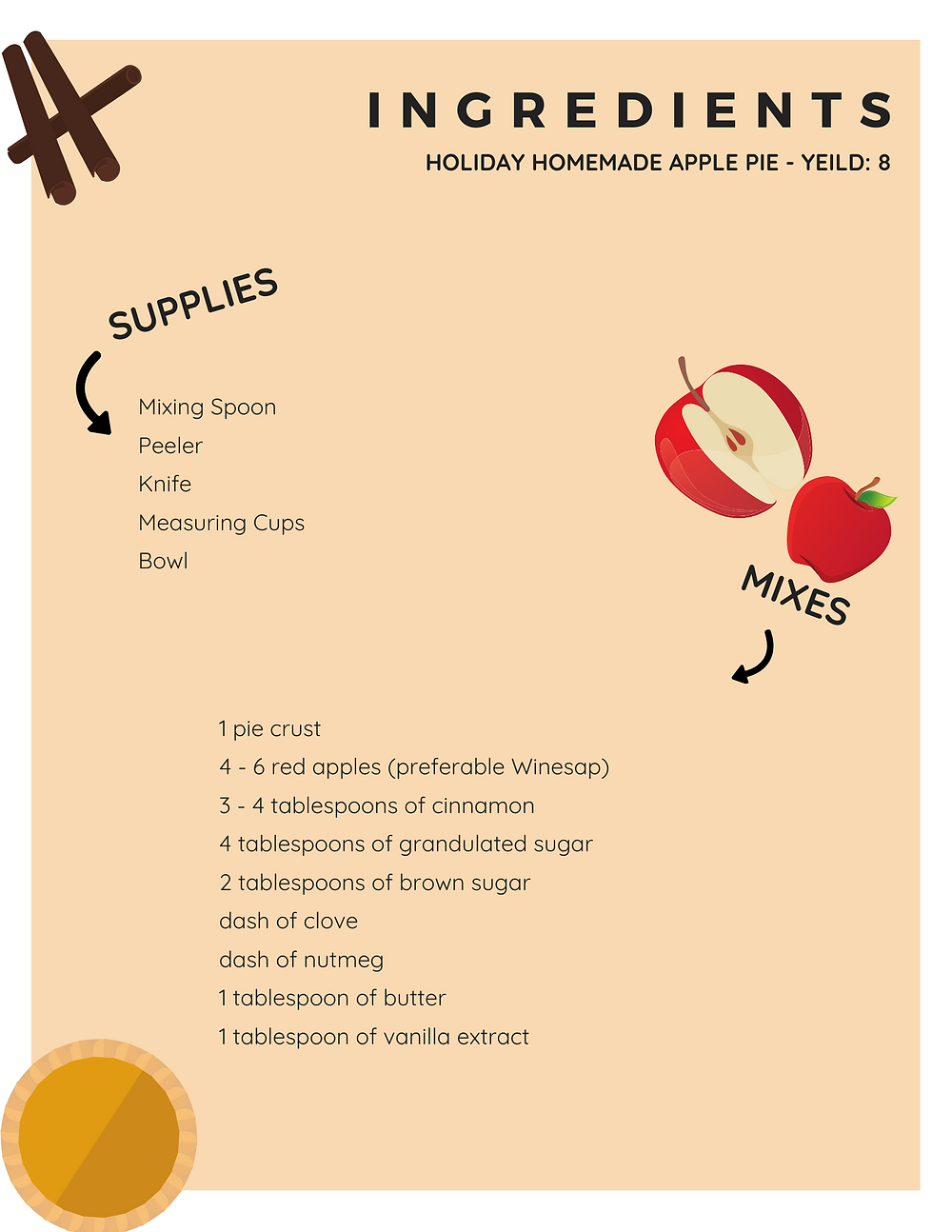 Ingredient List for holiday homemade apple pie