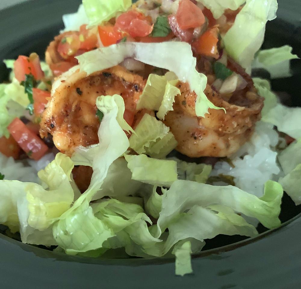 Shrimp Bowl with cilantro rice, pico de gallo, black beans and lettuce