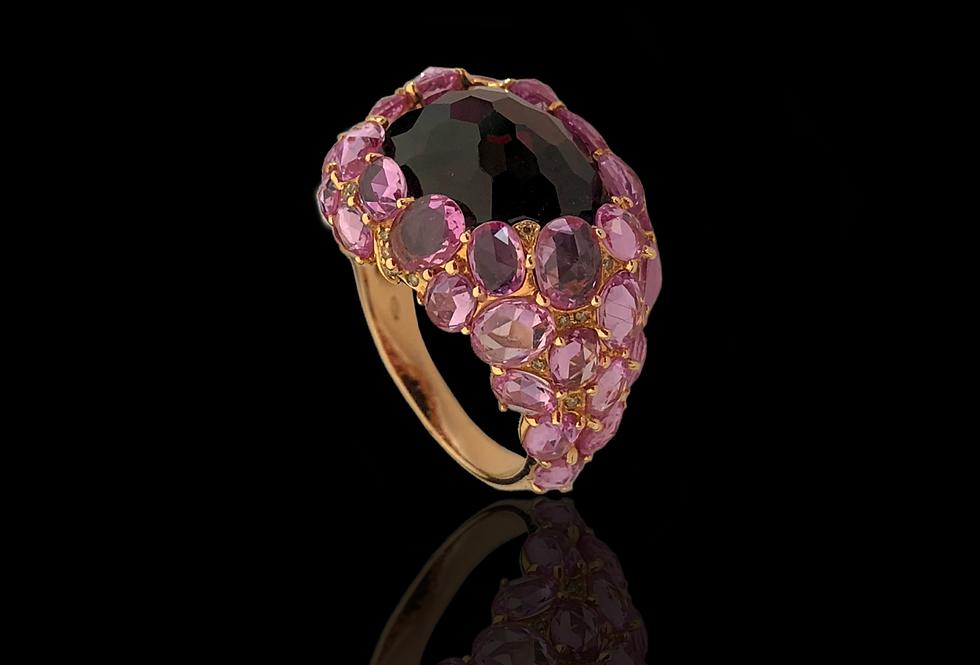 Sapphires Ball w/Smoky Quartz Ring