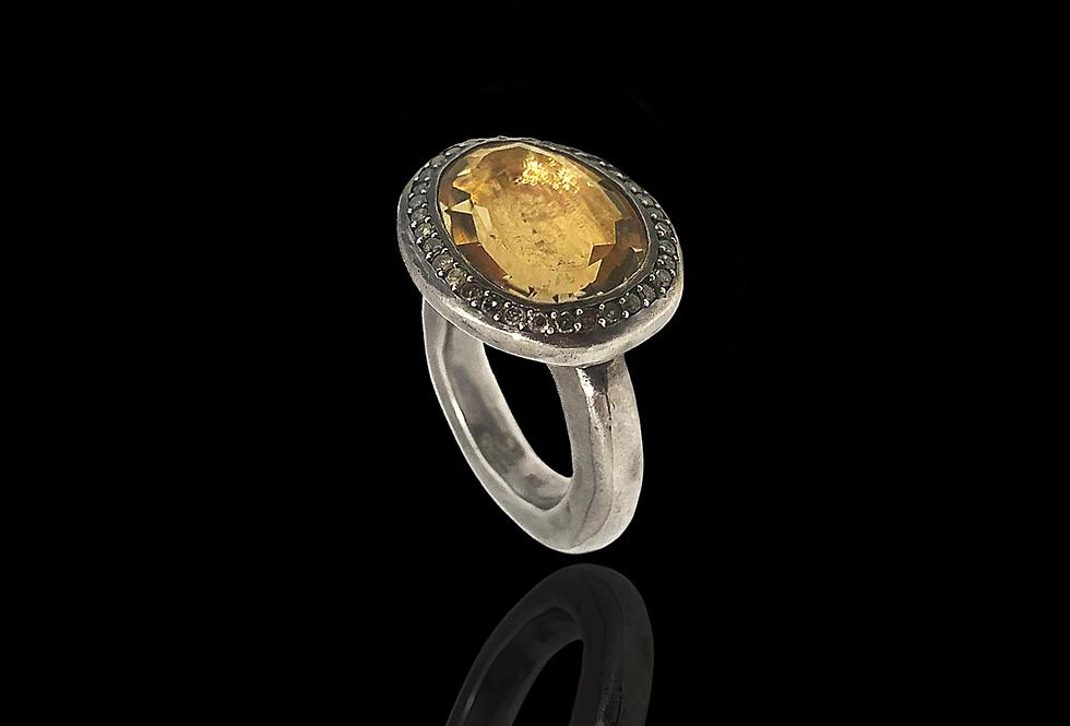 IceDiamonds&YellowTopaz Ring