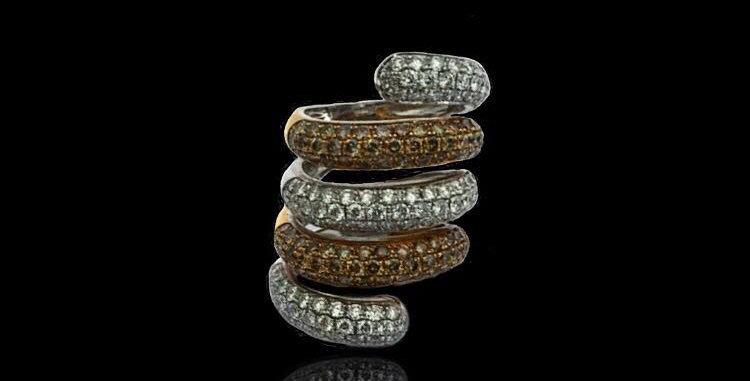 Spiral White&Brown Diamonds Ring