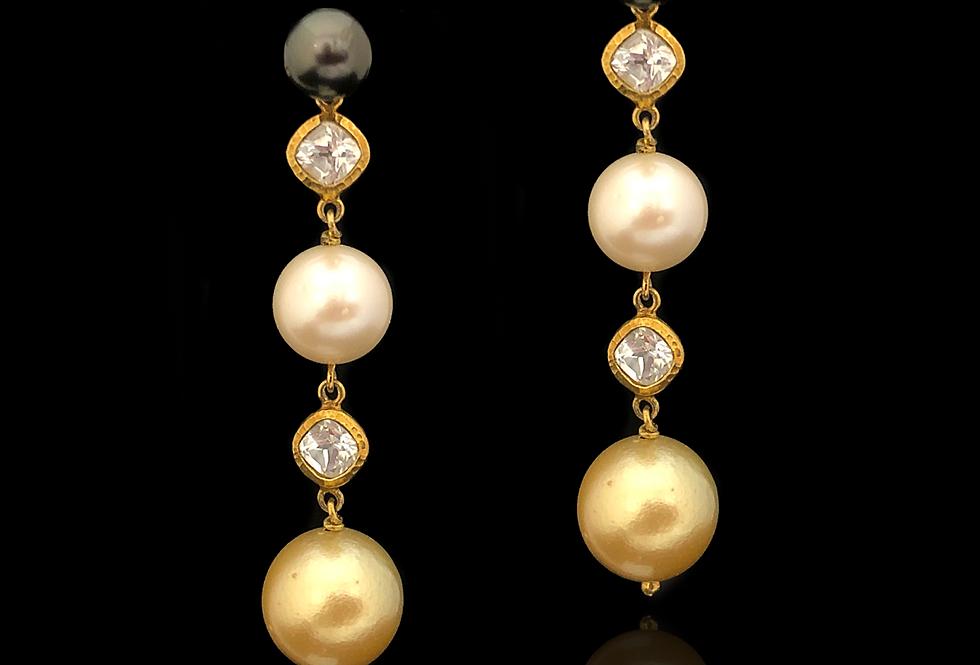 Trio of Pearls & Sapphire Earrings