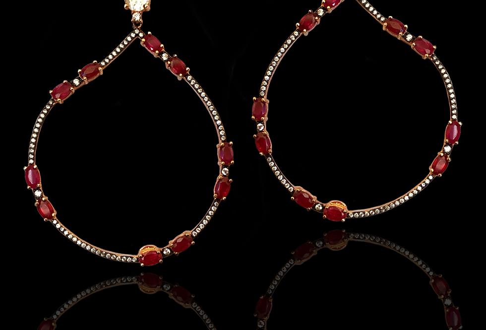 Rubies,Quatz&Sapphires Earrings