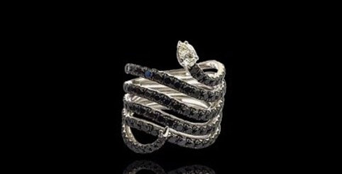 Snake Black Diamonds Ring