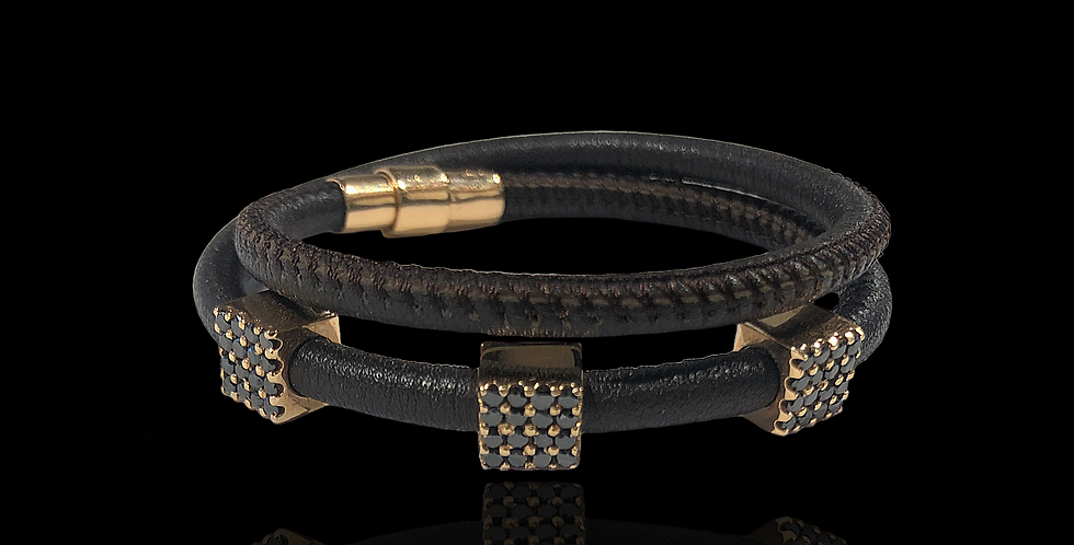 Diamond Cubes Leather Bracelet - Brown