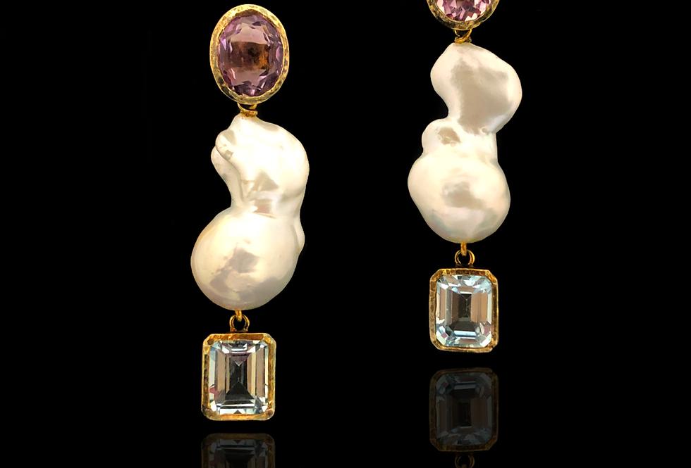 Amethist&Aquamarie w/Pearl Earrings