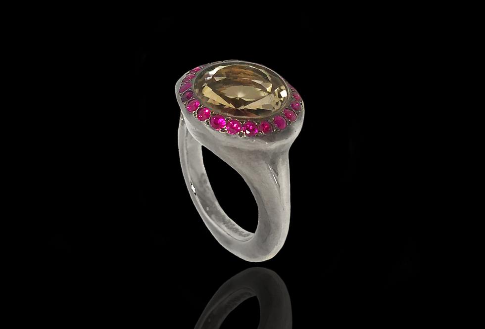 Ruby&SmokyQuartz Ring