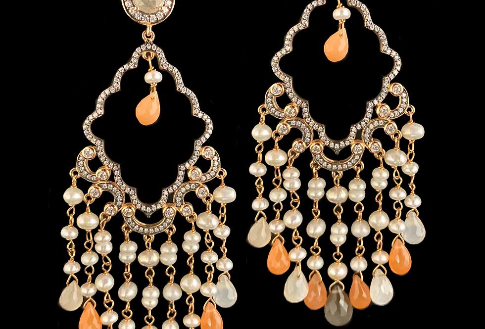 Pearl,Labradorite,Moonstone&Sapphire Earrings