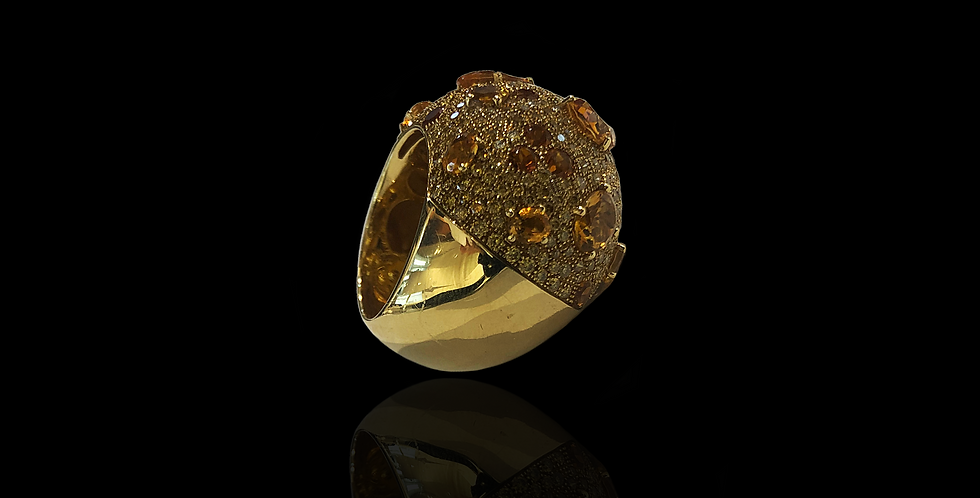Domed Fancy Diamonds Ring