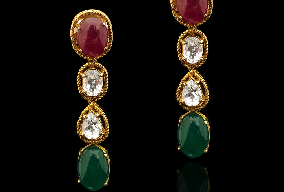 Ruby, Emerald & Sapphire Earrings