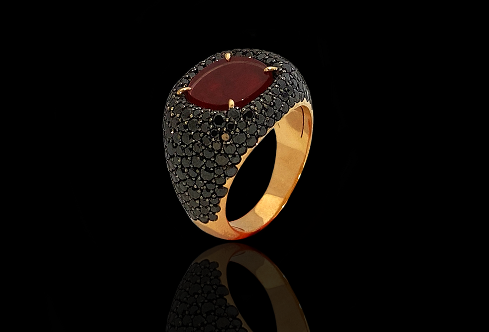 Square Chevalier Ring - Ruby&BlackDM