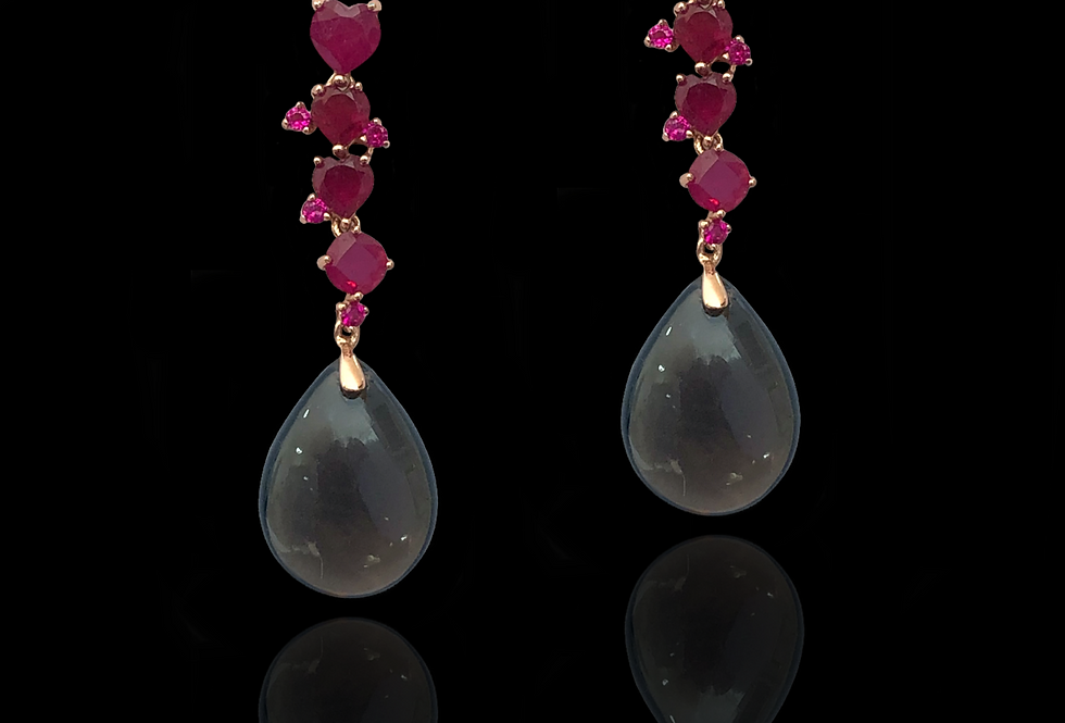 Rubies&SmokyQuartz Earrings