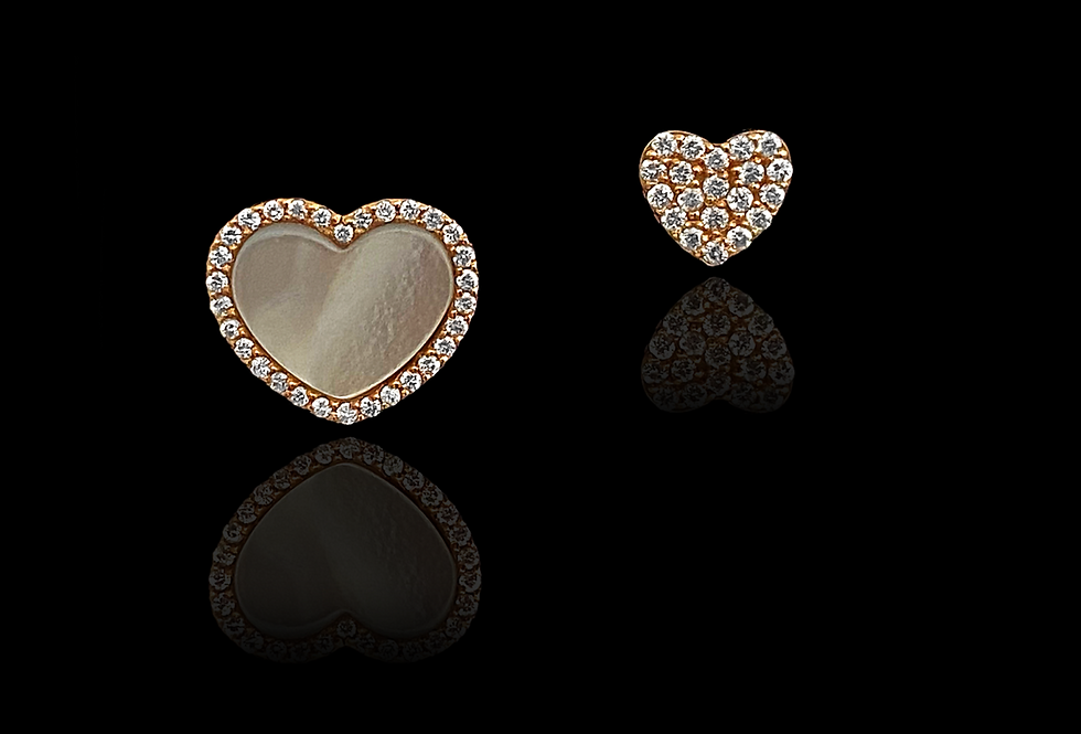Alternate Heart Earrings - Grey MOP