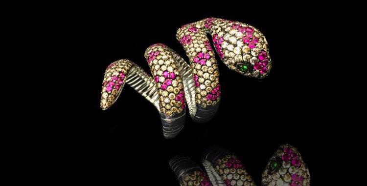 Pink&Brown Snake Ring