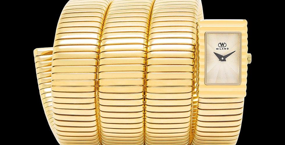 Yellow Gold tubogas Stainless Bracelet, White Dial
