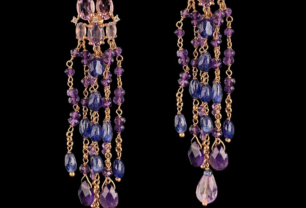 Amethyst&Sapphire Earrings