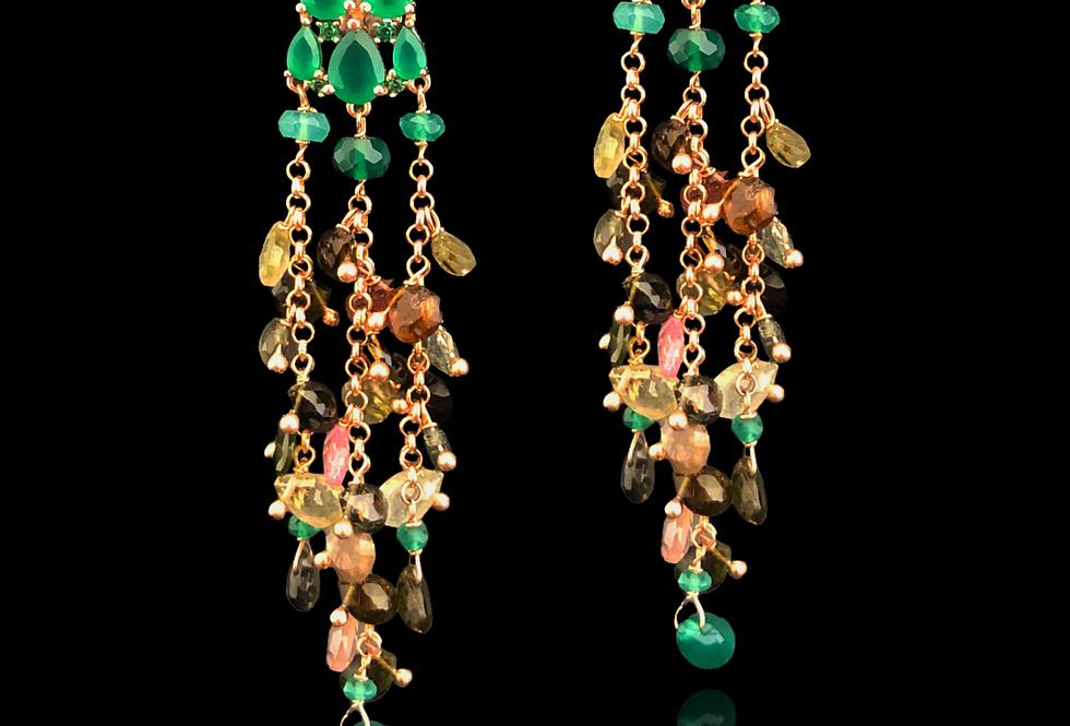 Tourmaline&Chalcedony Earrings