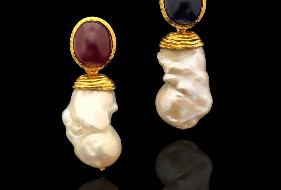 Sapphire Ruby w/Pearl Earrings