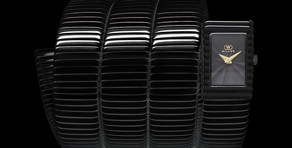 Black Tubogas Stainless Bracelet, Black Dial