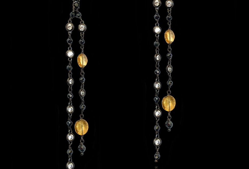 Sapphires,LemonQuartz&BlackSpinels Earrings