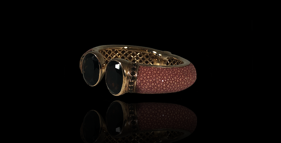 Leather Open Bracelet - Rose