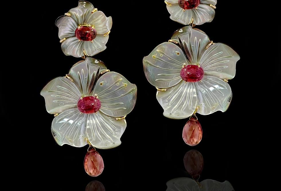 Tourmaline&MotherOdPearl Earrings