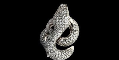 Snake White Diamonds Ring