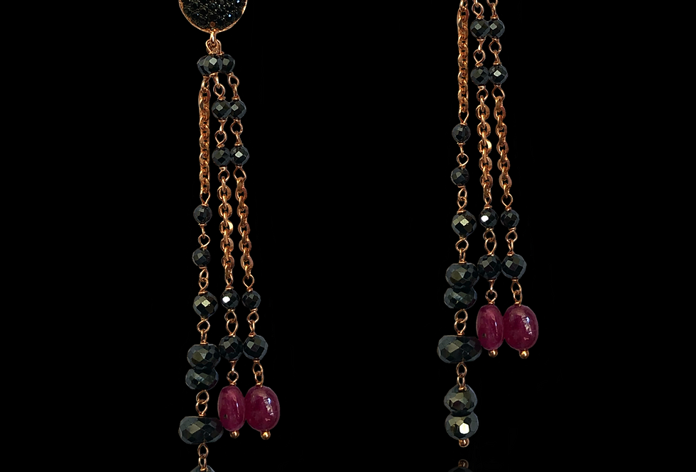 Rubies&BlackSpinels Earrings