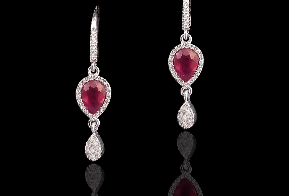 Hoop w/Pendants - Diamonds&Rubies Earrings