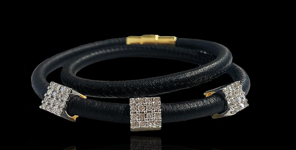 Diamond Cubes Leather Bracelet - BLack