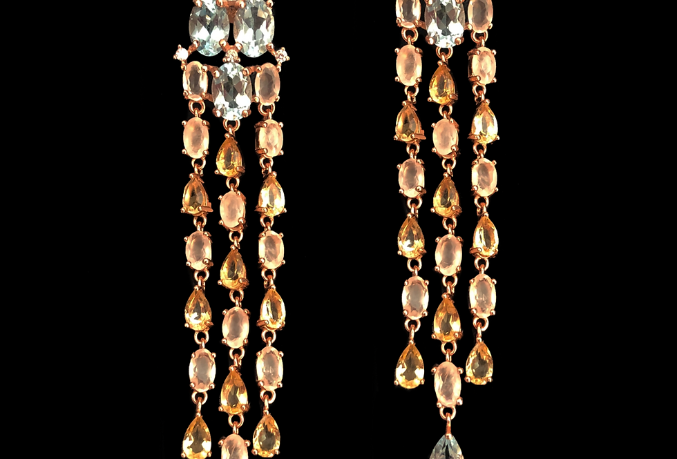 Topaz,Peridot&Quartz Earrings