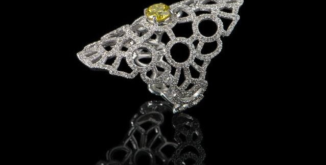 Arabesque Ring - w/fancy yellow
