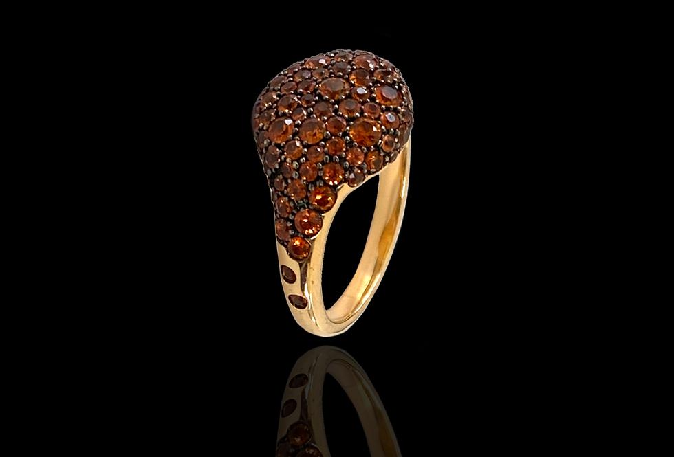 Round Chevalier Ring - Orange Sapphires