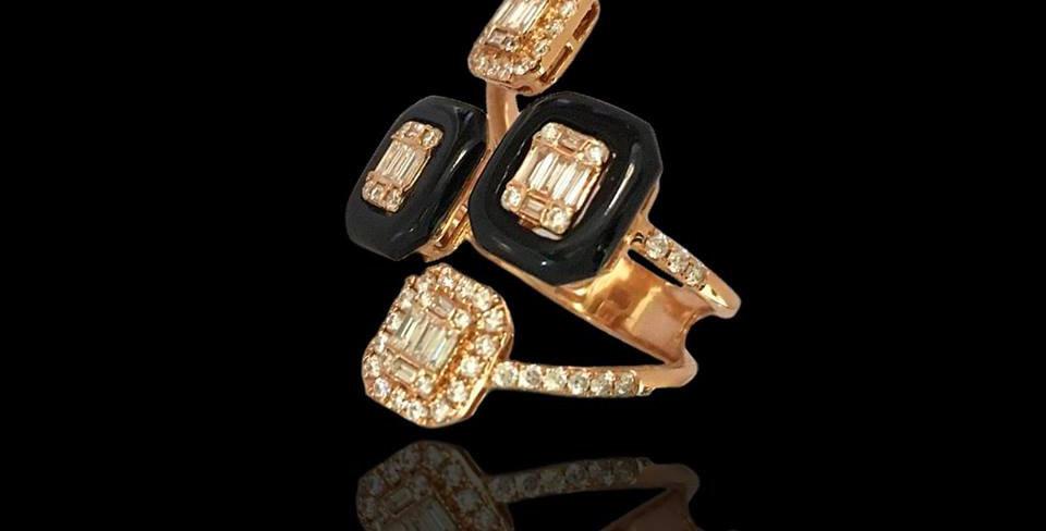 Double Contrariè Ring - Diamonds