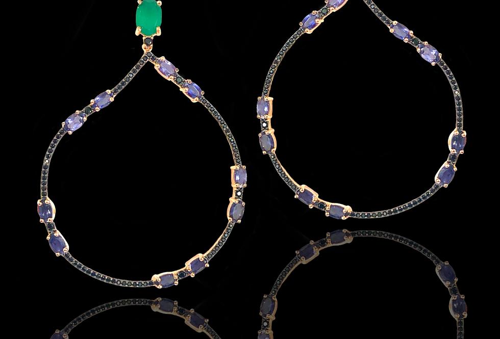 Emeralds,Iolite&BlackSpinels Earrings