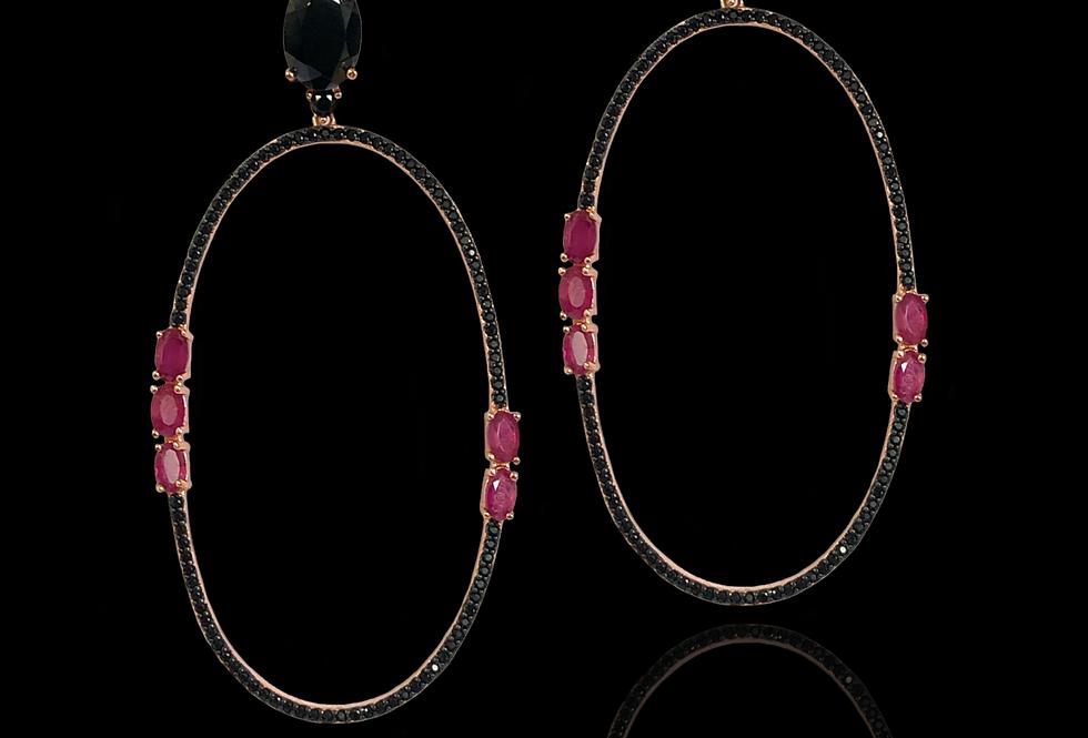 Rubies&BlackSpinels Earrings